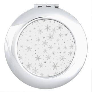 Twinkle Snowflake -Silver Grey & White- Travel Mirrors