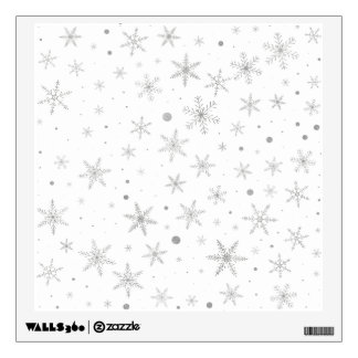 Twinkle Snowflake -Silver Grey & White- Wall Decal