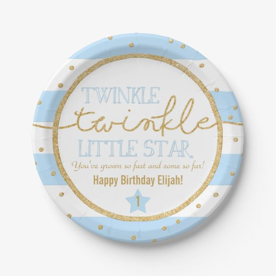 Twinkle Twinkle Blue and Gold Birthday Plates 7 Inch Paper Plate