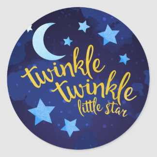 Twinkle Twinkle Gender Neutral Baby Shower Classic Round Sticker
