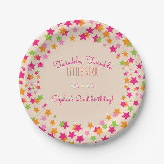 Twinkle Twinkle Little Star 2nd Birthday Paper Plate