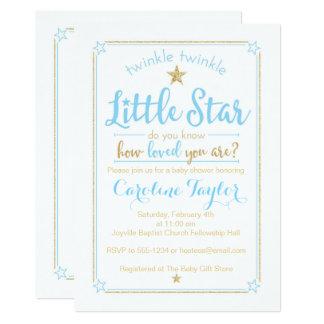Twinkle Twinkle Little Star Baby Shower Blue Gold Card