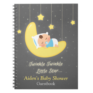 Twinkle Twinkle Little Star Baby Shower Guestbook Spiral Notebook