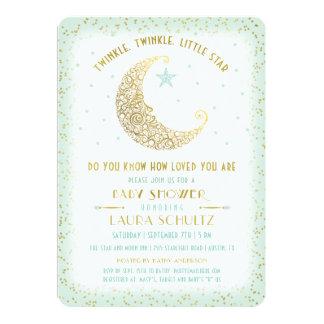 Twinkle Twinkle Little Star Baby Shower Mint Gold Card