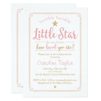 Twinkle Twinkle Little Star Baby Shower Pink Gold Card