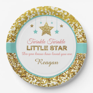 Twinkle Twinkle little star baby shower plates 9 Inch Paper Plate