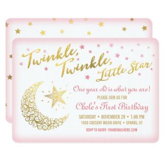 Twinkle, Twinkle, Little Star Birthday Invitation