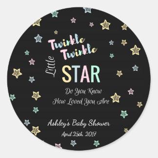 Twinkle Twinkle Little Star - Black, Gender Reveal Classic Round Sticker