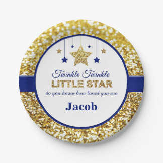 Twinkle twinkle little star blue baby shower plate 7 inch paper plate