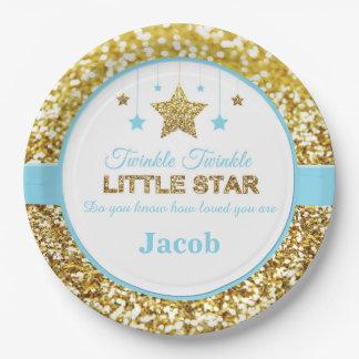 Twinkle twinkle little star blue baby shower plate 9 inch paper plate