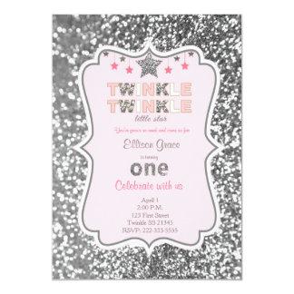 Twinkle twinkle little star invitation in silver
