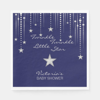 Twinkle Twinkle Little Star Napkins - Blue, Silver Disposable Napkins