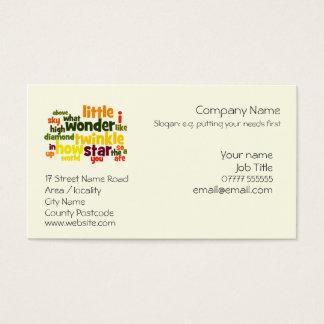 Twinkle, Twinkle Little Star nursery care Business Card