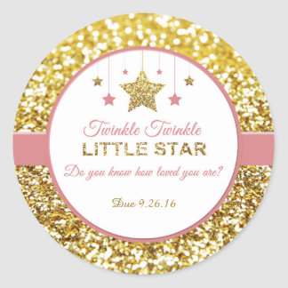 Twinkle Twinkle little star pink and gold stickers