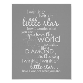 Song lyrics posters zazzle canada twinkle twinkle little star poster stopboris Choice Image