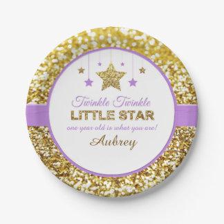 Twinkle twinkle little star purple plates 7 inch paper plate