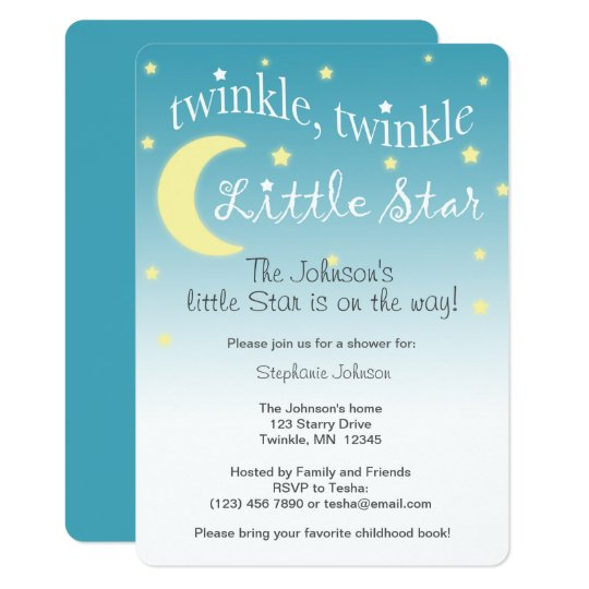 Twinkle Twinkle little star teal and white Card