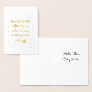 Twinkle Twinkle Little Star Typography Gold Foil Foil Card