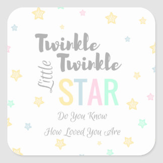 Twinkle Twinkle Little Star - White Pink Blue Square Sticker