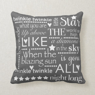 Twinkle Twinkle Little Star Word Art Design GRAY Throw Pillow