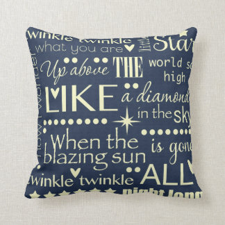 Twinkle Twinkle Little Star Word Art Design Throw Pillow
