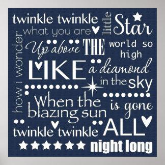 Twinkle Twinkle Little Star Word Art Midnight Blue Poster