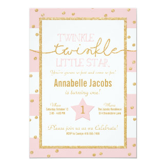 Twinkle Twinkle Pink and Gold Birthday Invitation