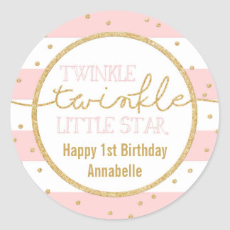 Twinkle Twinkle Pink and Gold Birthday Sticker