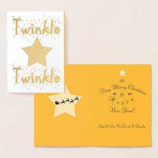 Twinkle Twinkle Shiny Silver Star Foil Card