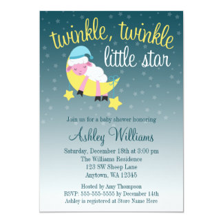 Twinkle Twinkle Star Lamb Baby Shower Card
