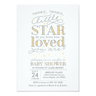 """Twinkle Twinkle Star Theme Yellow Baby Shower 5"""" X 7"""" Invitation Card"""