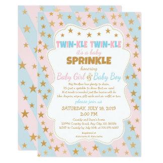 Twinkle Twins Baby Sprinkle boy girl gold stars Card