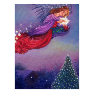 twinkling angel winter nocturne postcard