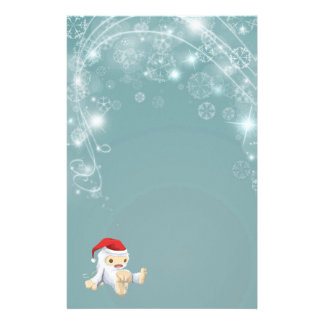 Twinkling Blue Christmas Paper with Yeti Toy Personalized Stationery