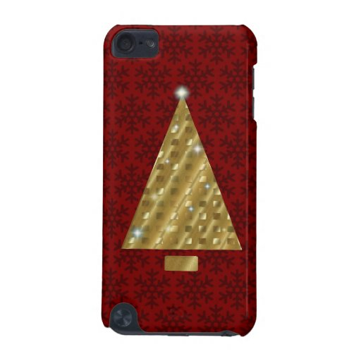 Twinkling Gold Christmas Tree on Red Speck Case iPod Touch 5G Covers