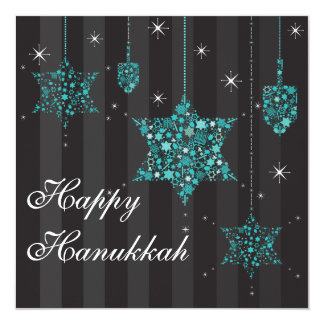 Twinkling Stars of David Hanukkah Invitation Card