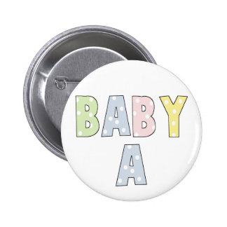 Twins Baby A Pastels 2 Inch Round Button