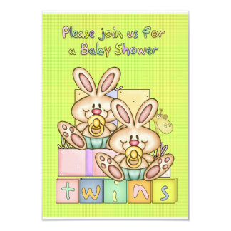 """Twins Baby Shower - Baby Shower Card For Twins 3.5"""" X 5"""" Invitation Card"""