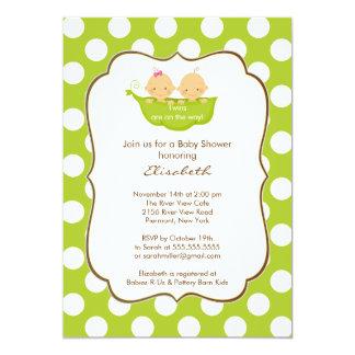 "Twins Baby Shower Invitation Little Pea Pod 5"" X 7"" Invitation Card"