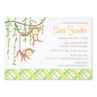Twins Baby Shower Invitation - Monkeys