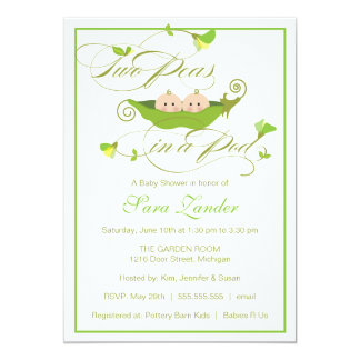 "Twins Baby Shower Invitation - Two Peas in a Pod 5"" X 7"" Invitation Card"