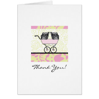 Twins Baby Shower Thank You - Pink Note Card