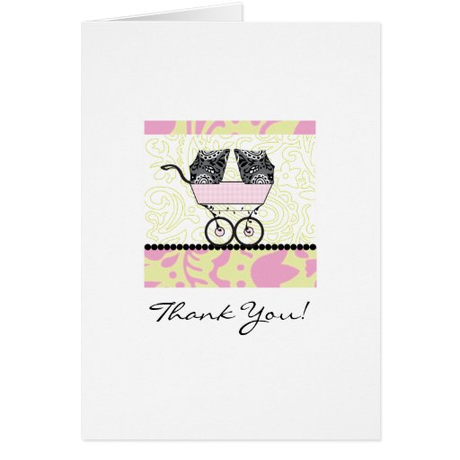 Twins Baby Shower Thank You - Pink Cards