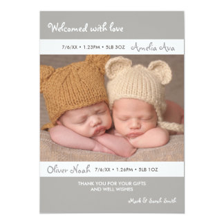 Twins birth announcement/thank you card