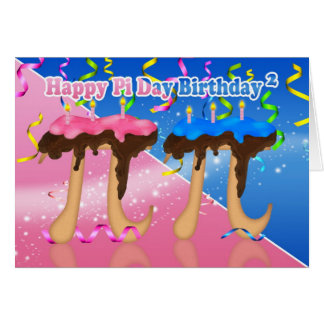 Twins Birthday Cake Pi Day 3.14 March 14th Card