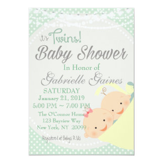Twins Boy and Girl Baby Shower Invitation