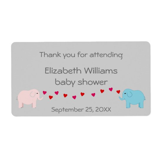 Twins Boy and Girl Elephants Water Bottle Favour Shipping Label