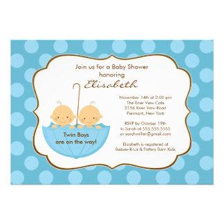 Twins Boys Umbrella Baby Shower Invitation Blue
