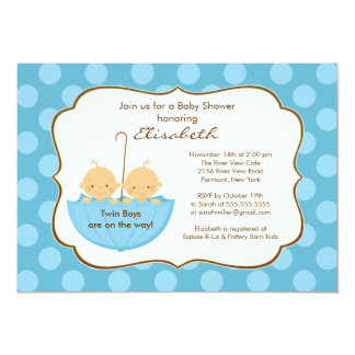 "Twins Boys Umbrella Baby Shower Invitation Blue 5"" X 7"" Invitation Card"