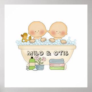 Twins Bubble Bath Baby Print